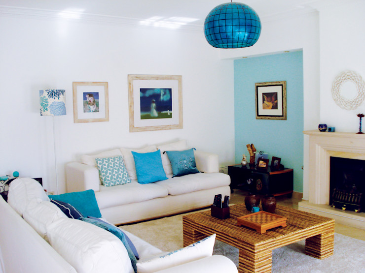 maria inês home style Living room Blue