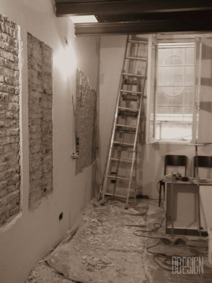 Estudio BDesign Industrial style living room Bricks White
