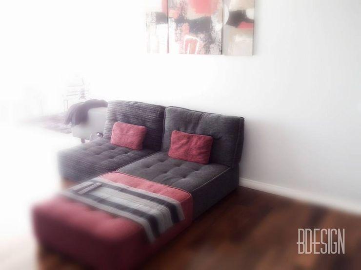 Estudio BDesign Minimalist living room Reinforced concrete Red