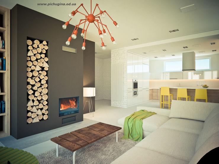Дом. Tatyana Pichugina Design Гостиная в стиле модерн Многоцветный