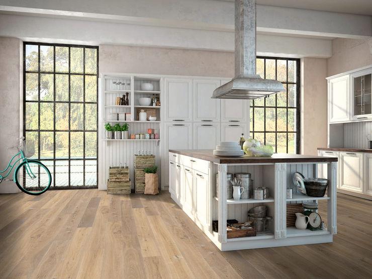 Holzboden: Ambiente Eiche, classic, gehobelt, kaschmirgrau, geölt. Hain Parkett Moderne Wände & Böden