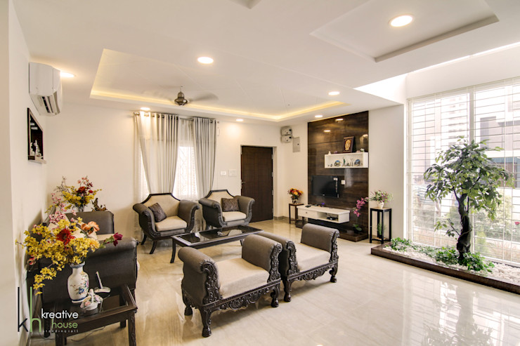 drawing room KREATIVE HOUSE Living roomSofas & armchairs Leather Beige