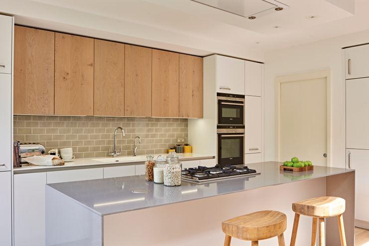 Island close up Holloways of Ludlow Bespoke Kitchens & Cabinetry Modern kitchen Wood Grey