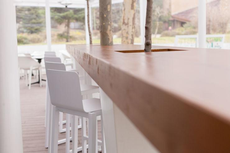 Calados en barra para alojar decoración vegetal MUDEYBA S.L. Bares y clubs Madera Acabado en madera