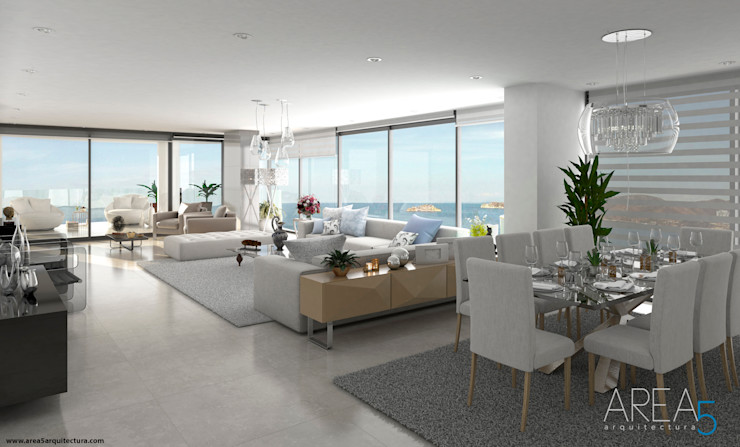 Morano Mare - Sala comedor Area5 arquitectura SAS Livings de estilo moderno Cerámico Blanco