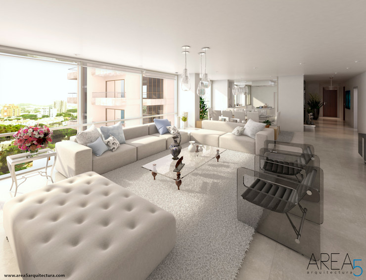 Area5 arquitectura SAS Modern living room Grey