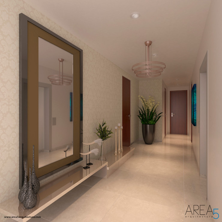 Area5 arquitectura SAS Modern corridor, hallway & stairs Beige