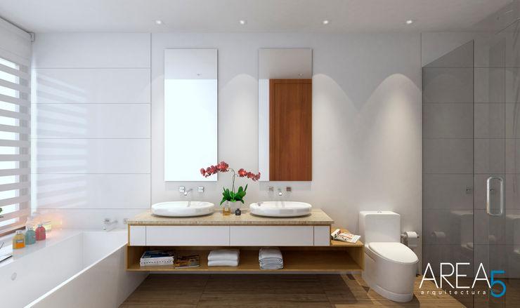 Morano Mare - Baño principal Area5 arquitectura SAS Baños de estilo moderno Cerámico Blanco