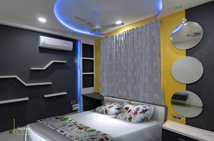 Children's Bed Room KREATIVE HOUSE Modern style bedroom Plywood Grey