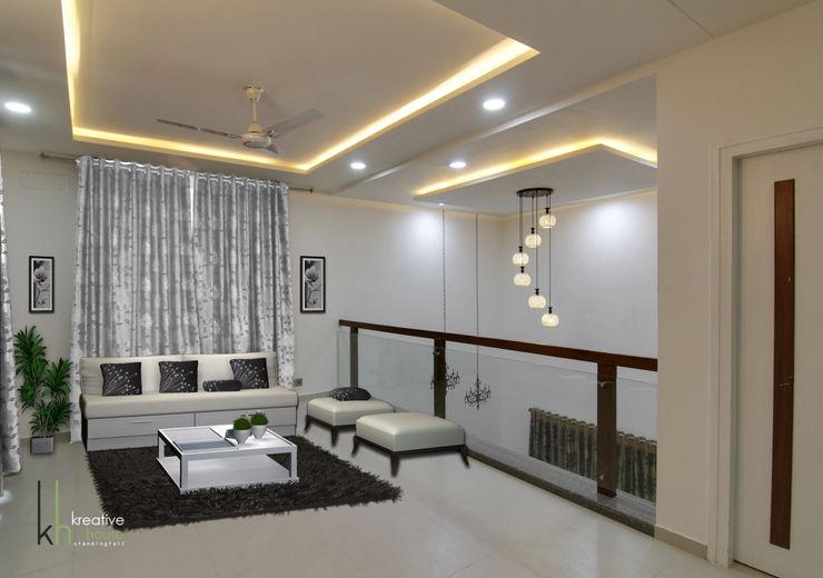 First Floor Lounge KREATIVE HOUSE Modern living room Solid Wood Grey