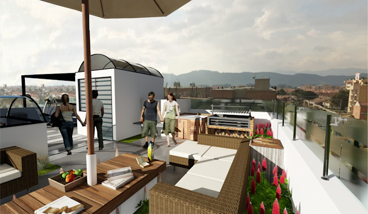 OGGETTO ARQUITECTOS Moderner Balkon, Veranda & Terrasse