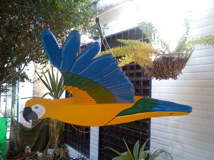 Guacamaya azul, amarillo y verde Artesania Ikare ArtePiezas de arte Tablero DM Multicolor
