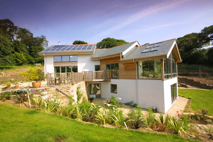 New Build Part Earth Sheltered Split Level House in Truro Cornwall Arco2 Architecture Ltd Rumah Modern