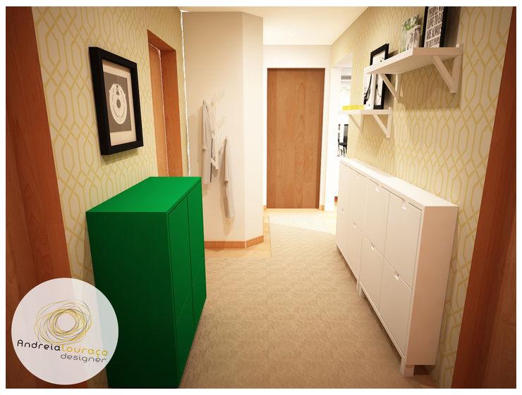 Andreia Louraço - Designer de Interiores (Email: andreialouraco@gmail.com) Modern corridor, hallway & stairs Green