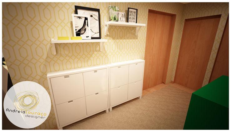 Andreia Louraço - Designer de Interiores (Email: andreialouraco@gmail.com) Corridor, hallway & stairs Storage Yellow
