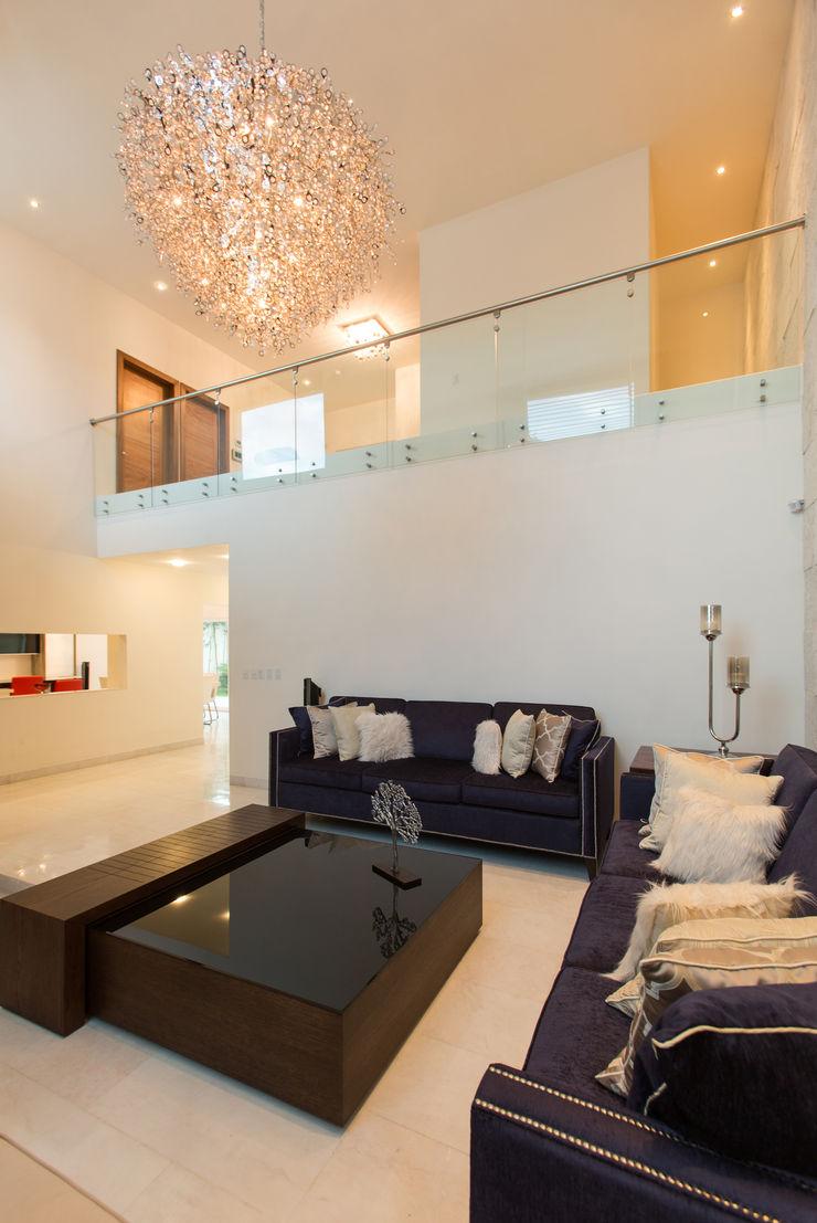 Casa CG Grupo Arsciniest Salones de estilo moderno Vidrio Blanco