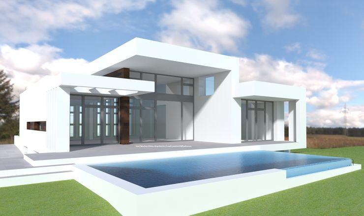 Vivienda Moderna Fachada Sur abierta DYOV STUDIO Arquitectura, Concepto Passivhaus Mediterraneo 653 77 38 06 Blanco