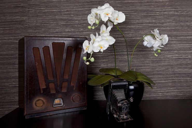 Gentleman's Bedroom: Antique styling Lothian Design Chambre coloniale Marron