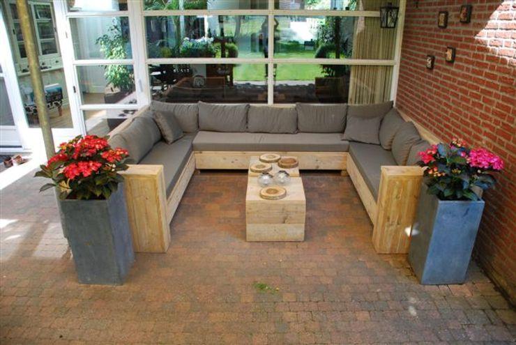 U-Loungebank aus Bauholz mit Kissen Exklusiv Dutch Design GartenMöbel
