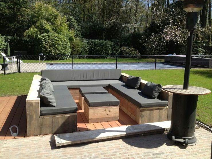 U-Loungebank aus Bauholz mit passenden Beistelltischen Exklusiv Dutch Design GartenMöbel