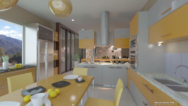 Arquitecto Manuel Daniel Vilte Armários e bancadas de cozinha de madeira e plástico Amarelo