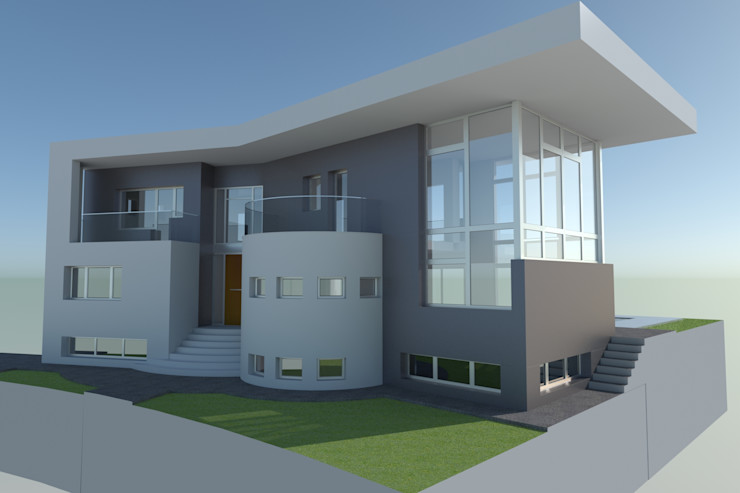 Vivienda moderna. La ficción del 3D se ve superada por la realidad. DYOV STUDIO Arquitectura, Concepto Passivhaus Mediterraneo 653 77 38 06 Villas Caliza Blanco
