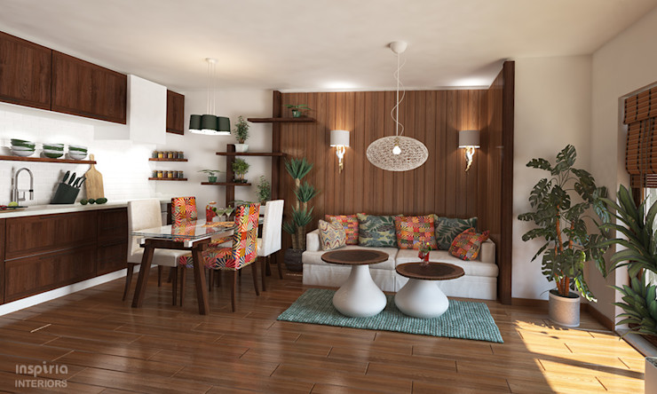 Country style Interior for an appartment kitchen and living room Inspiria Interiors Living room