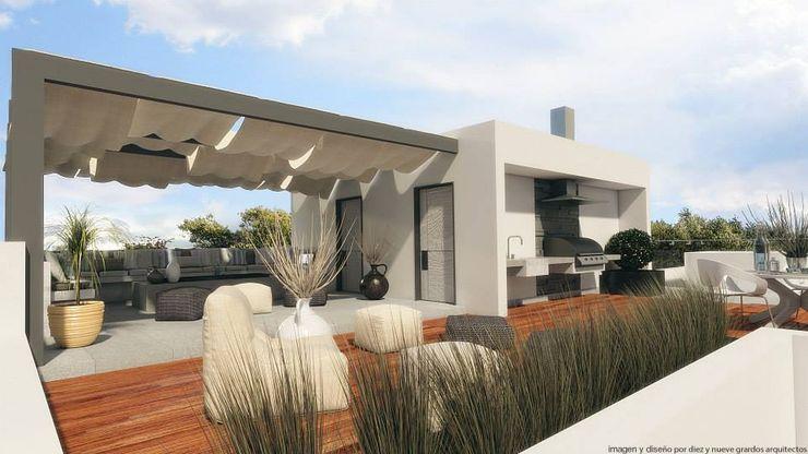 Terraza Diez y Nueve Grados Arquitectos Balcones y terrazas minimalistas