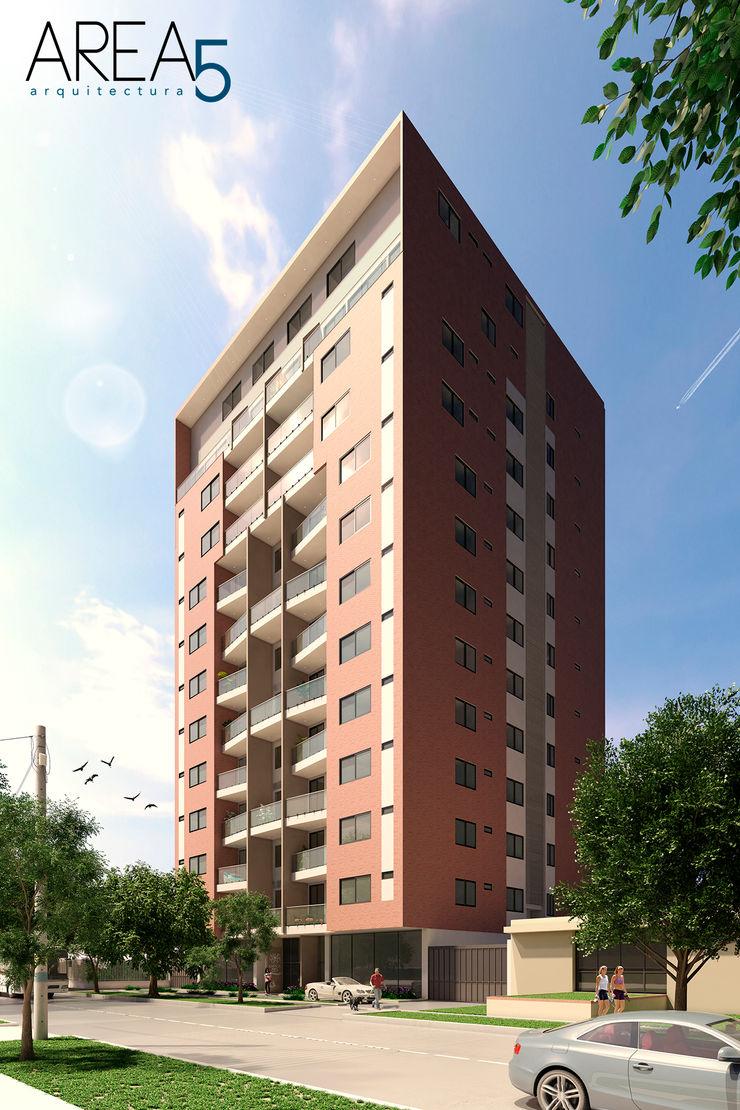 Evora85 - Fachada Area5 arquitectura SAS Casas modernas Cerámico Rojo