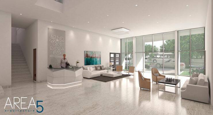 Lobby de acceso Area5 arquitectura SAS Pasillos, vestíbulos y escaleras de estilo moderno Mármol Blanco