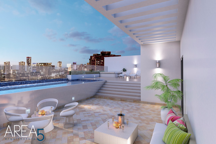 Terraza con piscina Area5 arquitectura SAS Balcones y terrazas de estilo moderno Beige
