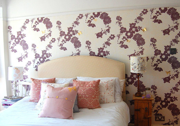 Geo Fleur wallpaper, Bespoke Decor Design Service Laura Felicity Design Klassische Wände & Böden Lila/Violett