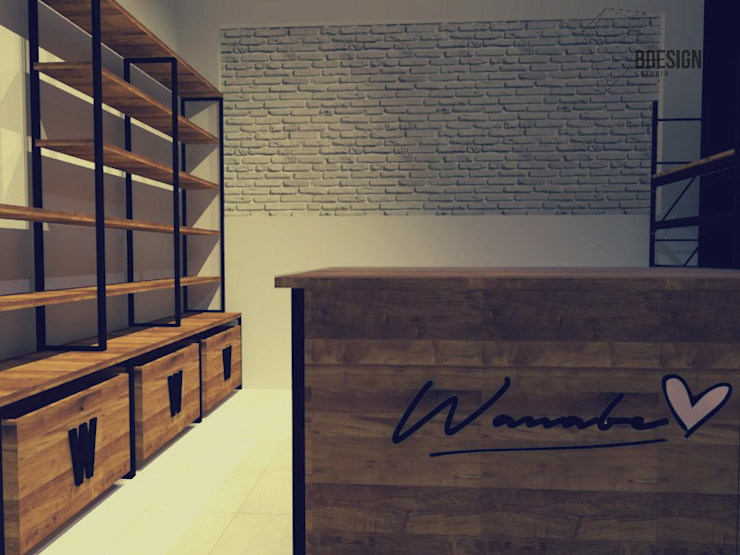 Estudio BDesign Industrial style study/office Solid Wood Wood effect