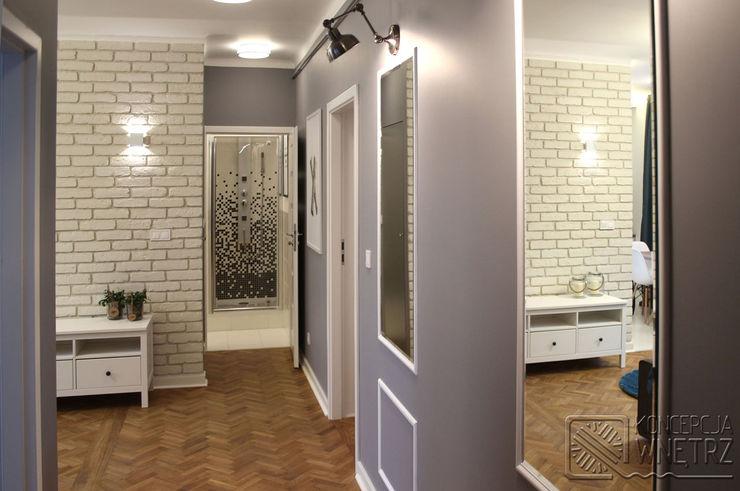 Koncepcja Wnętrz Modern Corridor, Hallway and Staircase Grey