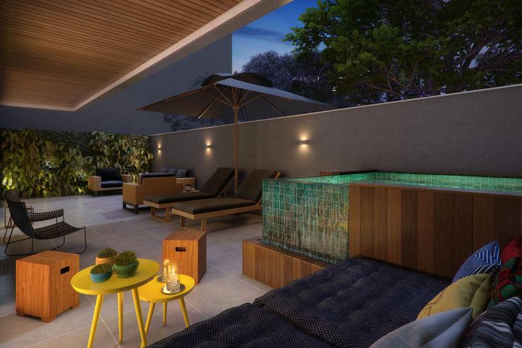 EDIFÍCIO CARAVELLE | Terraço Apartamento Garden Tato Bittencourt Arquitetos Associados Varandas, alpendres e terraços modernos