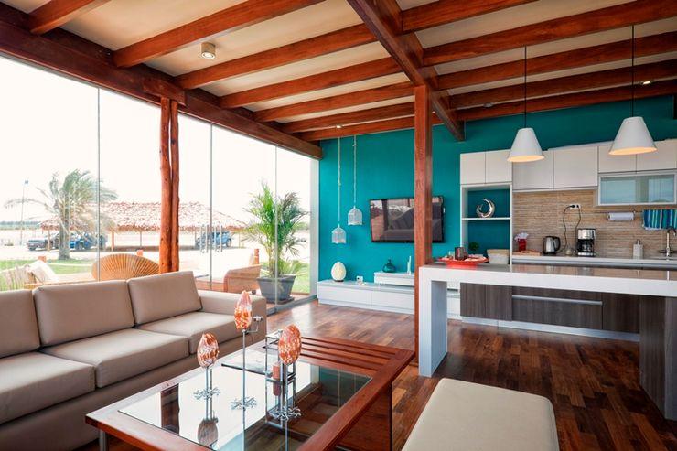 YUPANA Arquitectos Living room Wood Turquoise