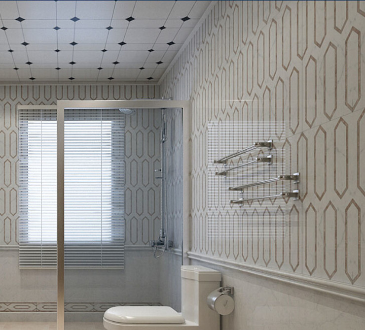 Water Jet Mosaics in Various China Projects ShellShock Designs Modern style bathrooms Tiles Multicolored