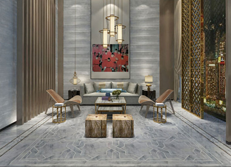 Water Jet Mosaics in Various China Projects ShellShock Designs Living room Tiles Multicolored
