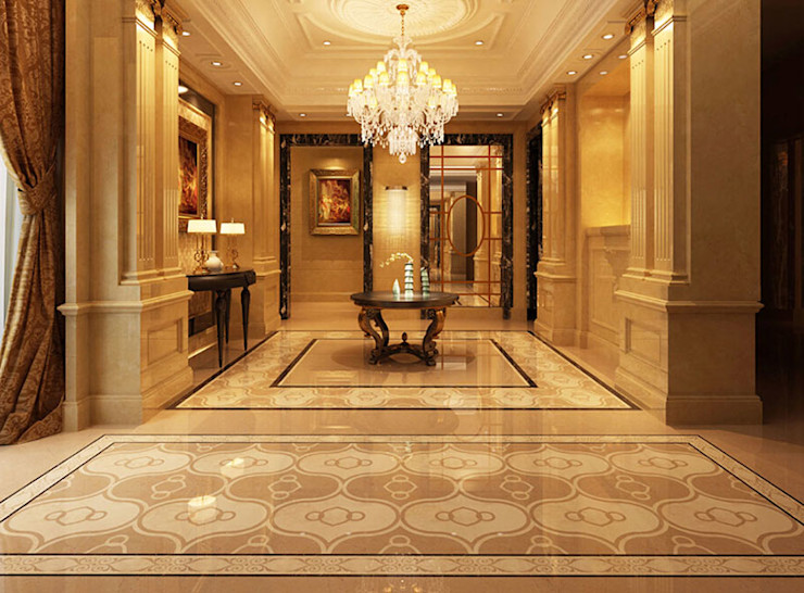 Water Jet Mosaics in Various China Projects ShellShock Designs Modern corridor, hallway & stairs Tiles Multicolored