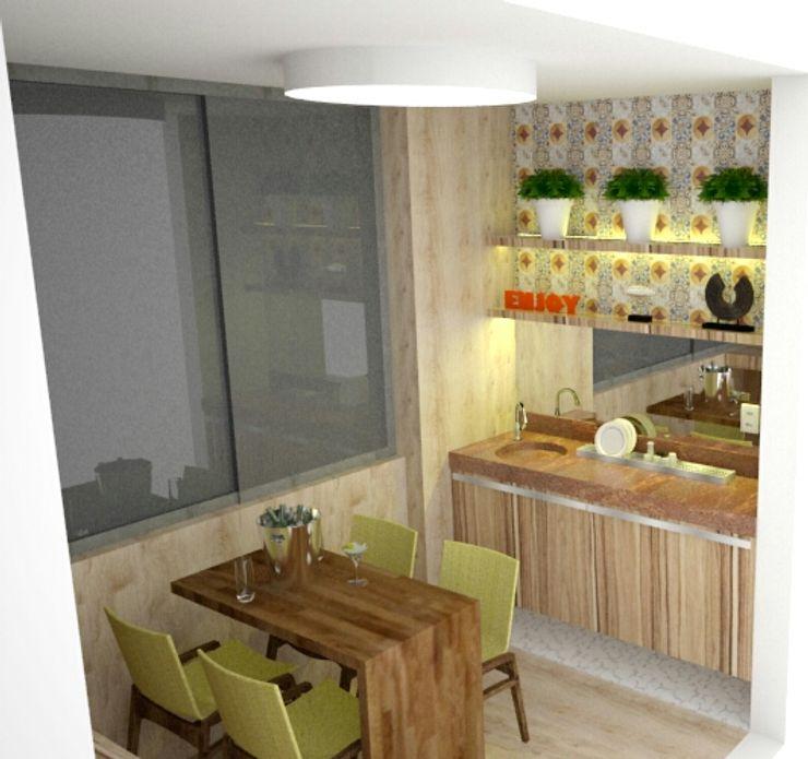 Duecad - Arquitetura e Interiores Rustic style balcony, veranda & terrace
