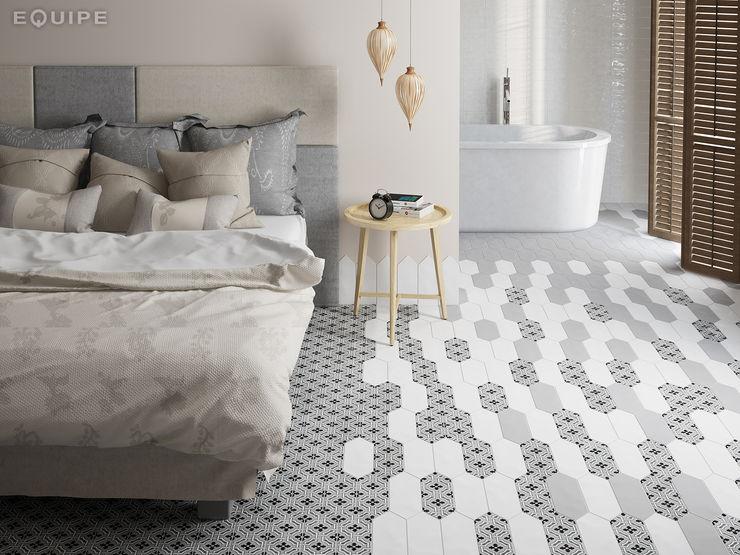 Kite White / deco Century Grey Equipe Ceramicas Dormitorios modernos: Ideas, imágenes y decoración