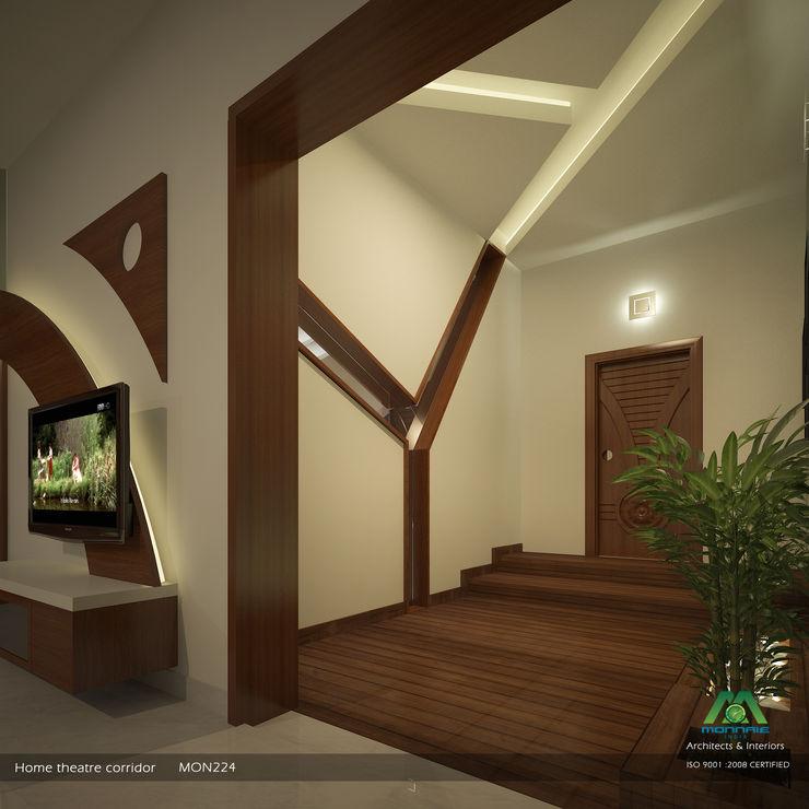 Home Theatre Corridor Premdas Krishna 現代風玄關、走廊與階梯