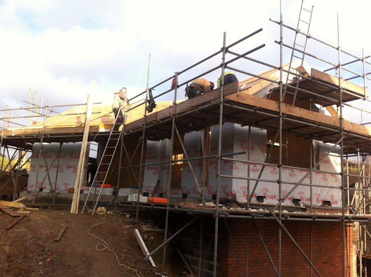 Side elevation in progress Building With Frames Minimalist house Wood