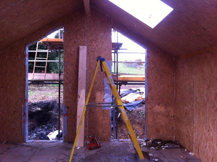 Internal Living Room in Progress Building With Frames Minimalist house Wood