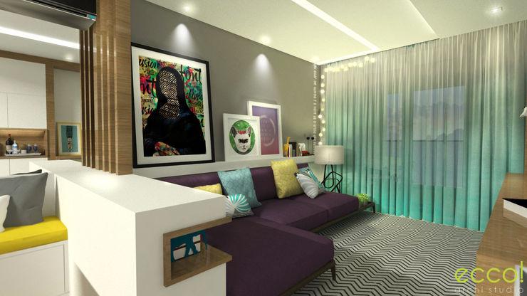 ecco! archi studio ecco! archi sudio Salas de estar modernas MDF Roxo/violeta