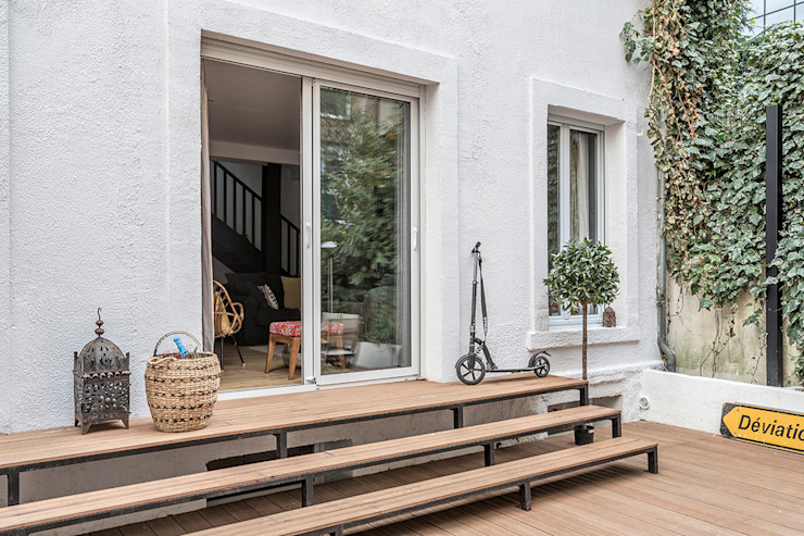 Terrasse - Escalier Olivier Stadler Architecte Balcon, Veranda & Terrasse modernes
