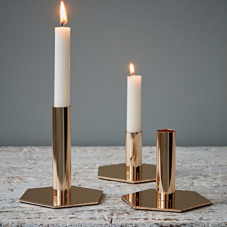 Set of Three Gold Hexagon Candlesticks by Hubsch rigby & mac HouseholdAccessories & decoration Metal Amber/Gold