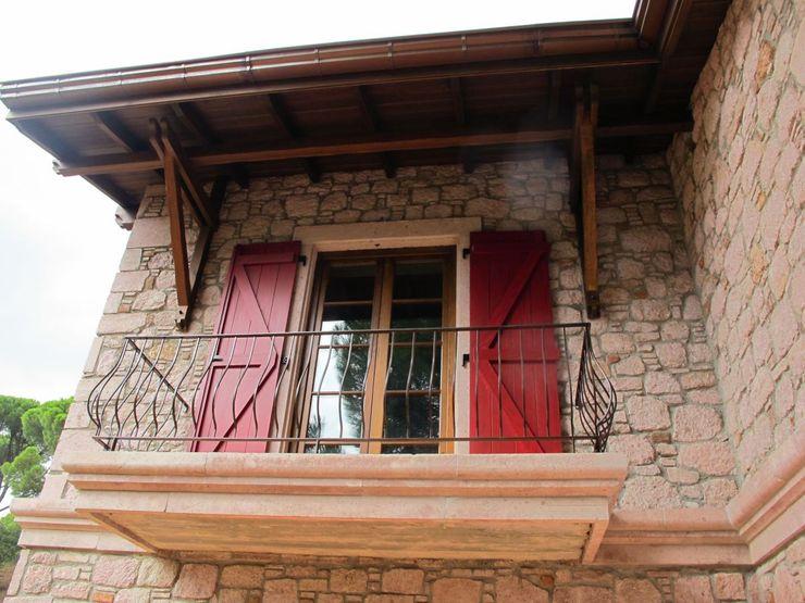 Bağyüzü Taş Ev Plano Mimarlık ve Teknoloji Kırsal Balkon, Veranda & Teras Taş
