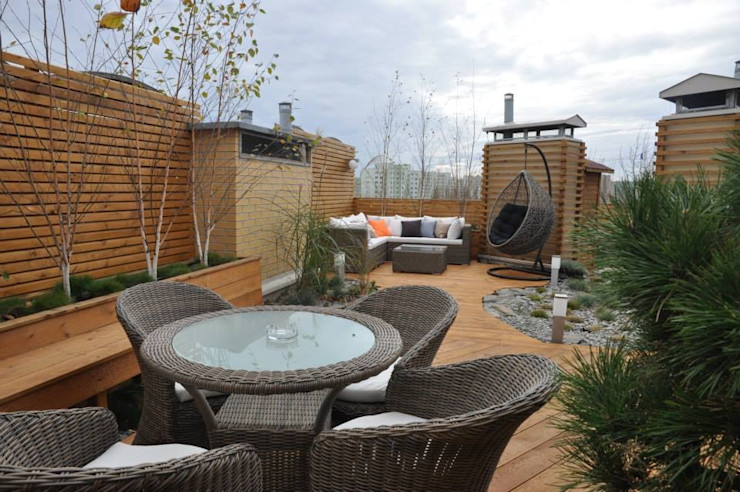 Fabryka-ogrodów s.c. Scandinavian style balcony, veranda & terrace Wood Wood effect