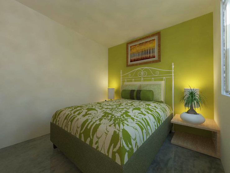 homify Small bedroom Reinforced concrete Green